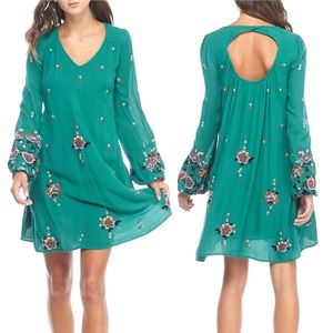 Free People embroidered emerald green swing dress